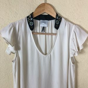 Euc Anthropologie HD in Paris embroidered top S